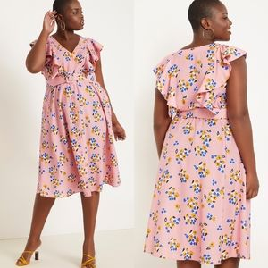 ELOQUII Pink Floral Belted Dress with Ruffles